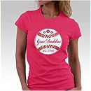 Womens Pink Baseball T-Shirt